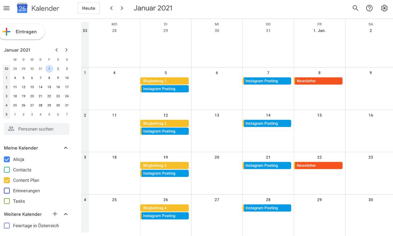 Google Kalender Beispiel Content Plan