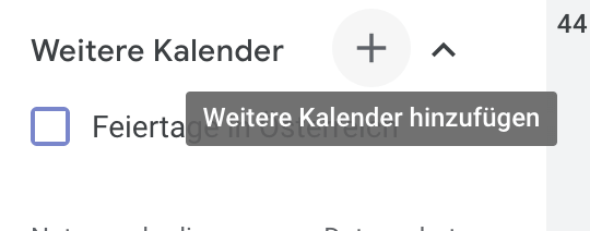 Weitere Kalender hinzufügen in Google Kalender