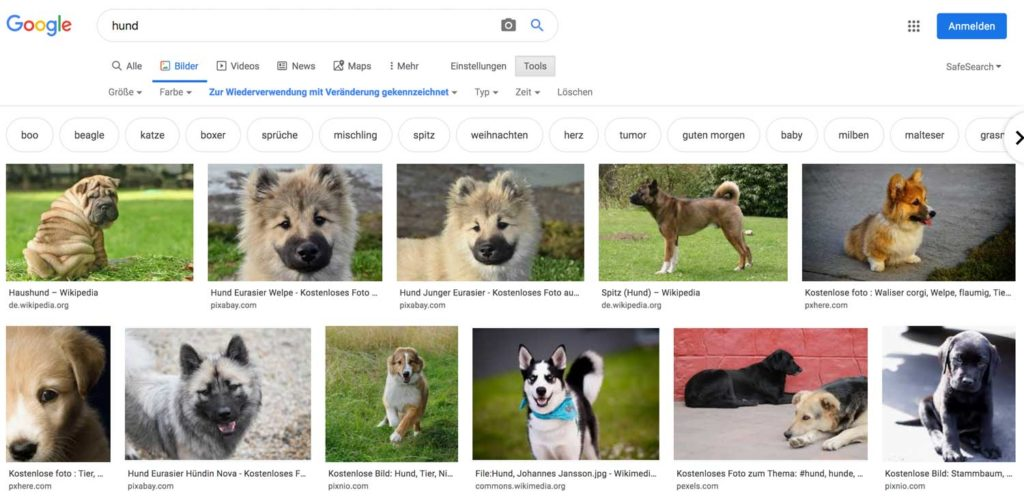 Lizenzfreie Bilder auf Google