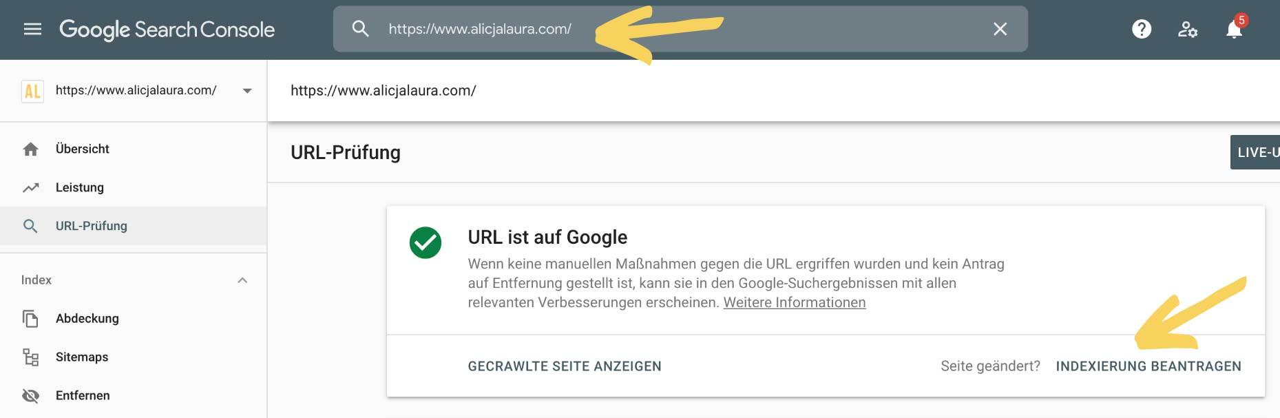 Indexierung beantragen mit Google Search Console
