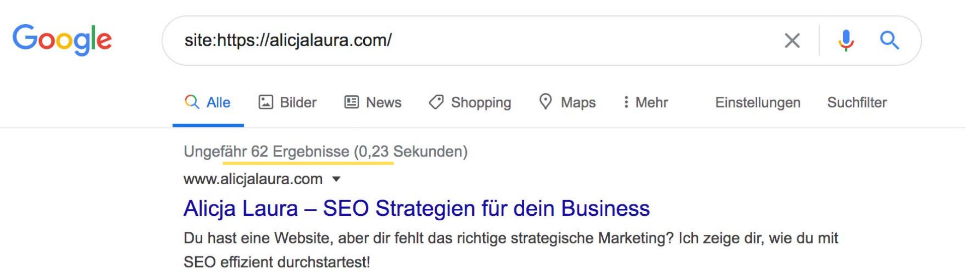 Suchergebnisse mit der site Google Suche